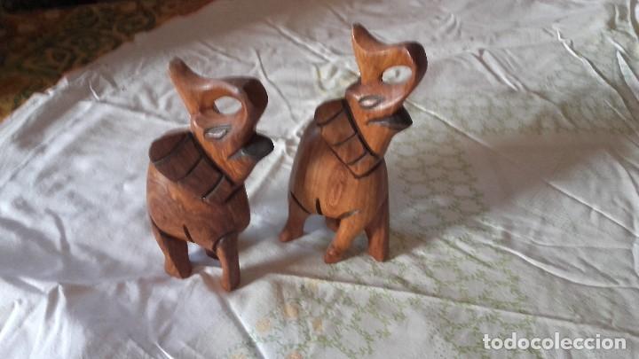 Arte: Preciosa pareja de elefantes tallados en madera noble. - Foto 2 - 100497231