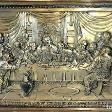 Arte: LA SANTA CENA. RELIEVE EN PLACA METÁLICA. COLOR PLATA. ANÓNIMO. ESPAÑA. CIRCA 1940. Lote 100627487