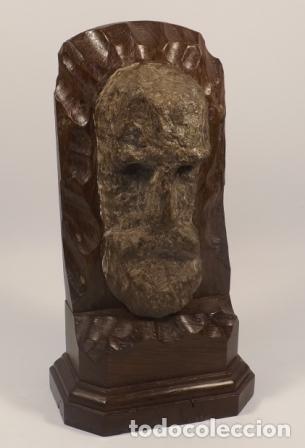 ESCULTURA PIEDRA ROSTRO HUMANO. FIGURA PIEDRA Y MADERA. (Arte - Escultura - Piedra)