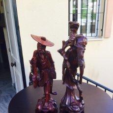 Arte: LOTE DE 2 FIGURAS TALLADAS EN MADERA JAPONESAS. Lote 101132063