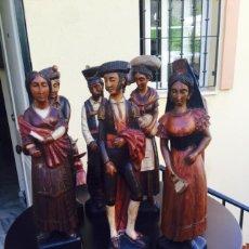 Arte: LOTE DE 7 FIGURAS COSTUMBRISTAS ESPAÑOLAS TALLADAS EN MADERA SIGLO XX. Lote 101132520