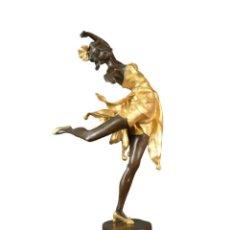 Arte: BELLÍSIMA ESCULTURA EN BRONCE CON ORO.BAILARINA ART DECO SOBRE MÁRMOL.UNA JOYA! ÚLTIMA PIEZA! 48CM.. Lote 101161024