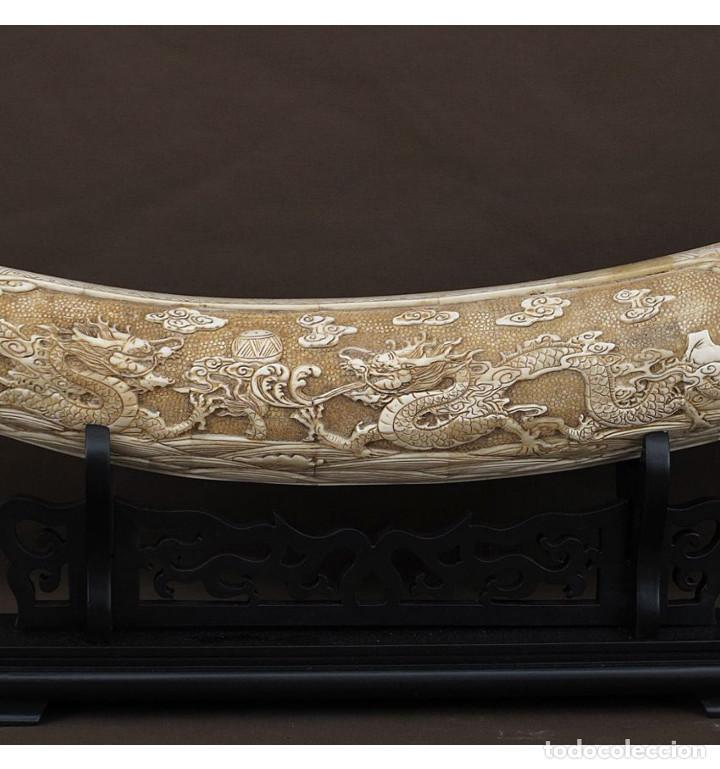 Arte: Colmillo tumbado 082cm Dragones con soporte en Hueso Tallado de Vaca o Búfalo de agua - Foto 3 - 101165775