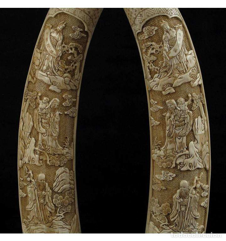 Arte: Colmillos de pie 077cm 3 Dioses (Pareja) en Hueso Tallado de Vaca o Búfalo de agua - Foto 3 - 101186239