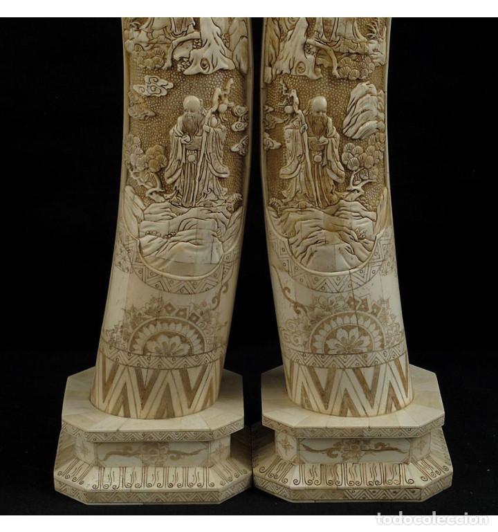 Arte: Colmillos de pie 077cm 3 Dioses (Pareja) en Hueso Tallado de Vaca o Búfalo de agua - Foto 4 - 101186239
