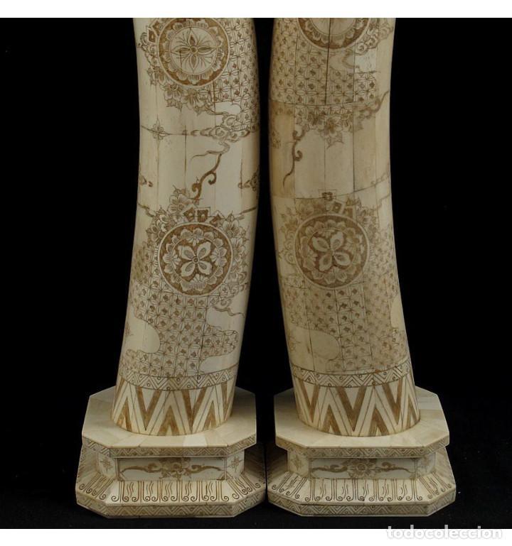 Arte: Colmillos de pie 077cm 3 Dioses (Pareja) en Hueso Tallado de Vaca o Búfalo de agua - Foto 7 - 101186239