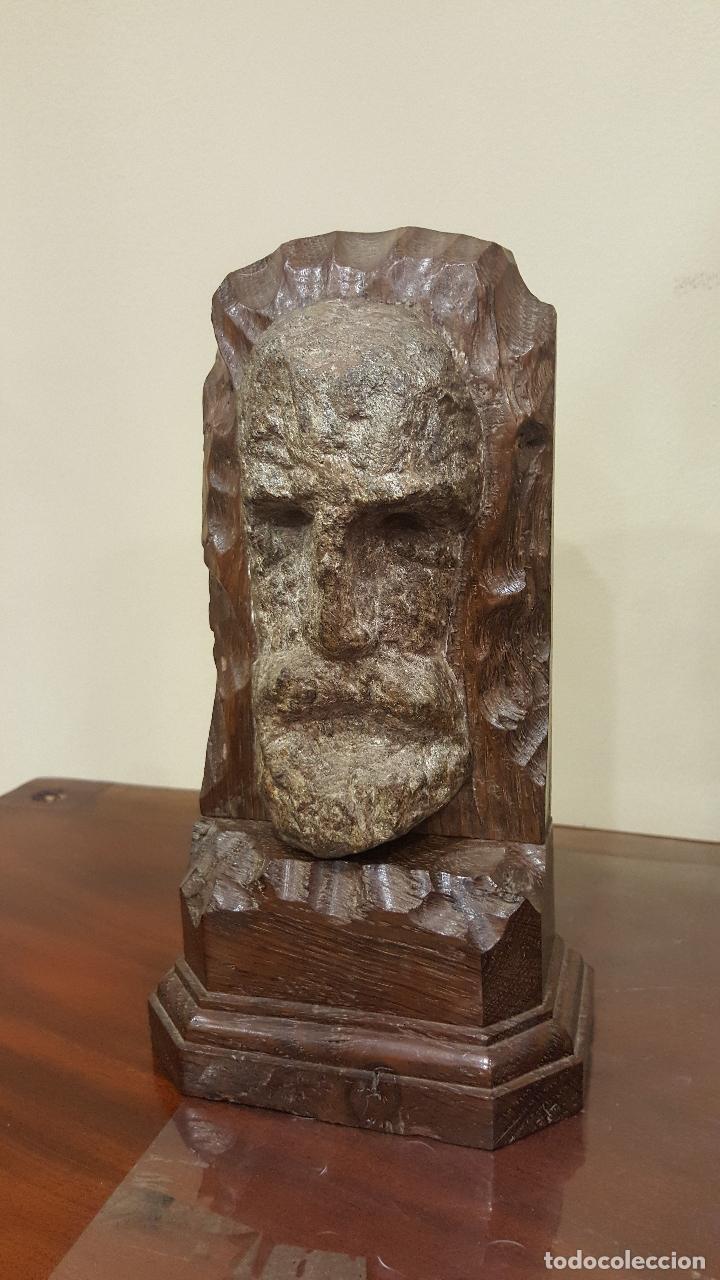 Arte: Escultura piedra rostro humano. Figura piedra y madera. - Foto 2 - 101018183