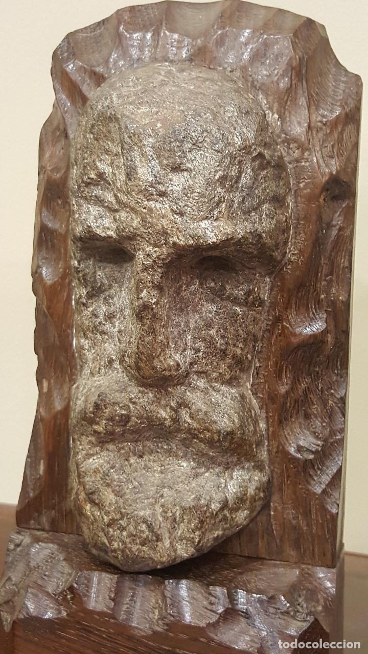 Arte: Escultura piedra rostro humano. Figura piedra y madera. - Foto 3 - 101018183