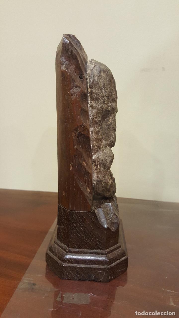 Arte: Escultura piedra rostro humano. Figura piedra y madera. - Foto 6 - 101018183