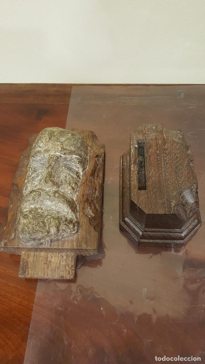 Arte: Escultura piedra rostro humano. Figura piedra y madera. - Foto 7 - 101018183