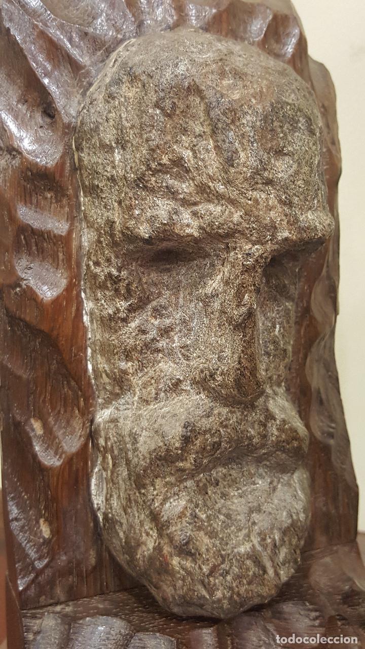 Arte: Escultura piedra rostro humano. Figura piedra y madera. - Foto 8 - 101018183