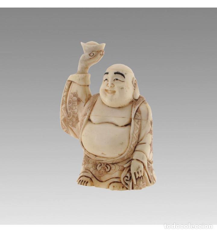 Arte: Artesanal Buda de la fortuna 08cm en Hueso Tallado de Vaca o Búfalo de agua - Foto 2 - 101416615