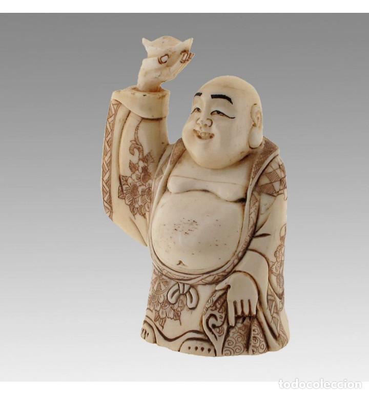 Arte: Artesanal Buda de la fortuna 10cm en Hueso Tallado de Vaca o Búfalo de agua - Foto 3 - 101416731