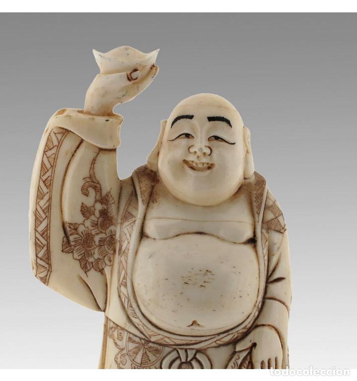 Arte: Artesanal Buda de la fortuna 10cm en Hueso Tallado de Vaca o Búfalo de agua - Foto 4 - 101416731