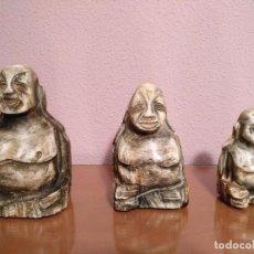 Arte: LOTE 3 BUDAS TALLADOS EN ALABASTRO O PIEDRA MUY ORIGINALES GRAN PESO. Lote 103867327