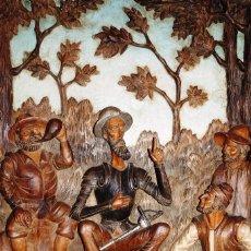 Arte: DON QUIJOTE DE LA MANCHA. PLAFÓN.THE QUIXOTE OF LA MANCHA. CARVED IN WOOD.. Lote 104031847
