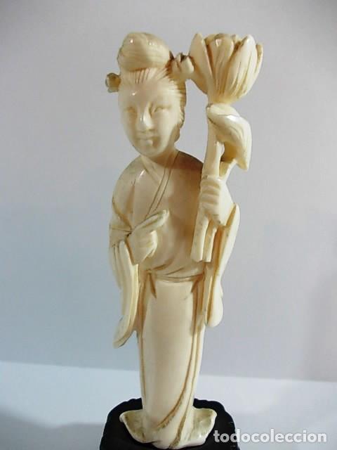 Arte: ANTIGUA FIGURA GEISHA JAPONESA REALIZADA EN MARFIL - Foto 2 - 104298515