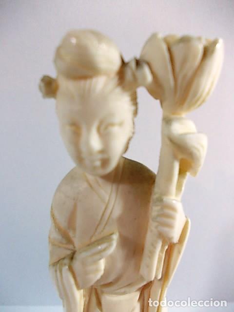 Arte: ANTIGUA FIGURA GEISHA JAPONESA REALIZADA EN MARFIL - Foto 3 - 104298515