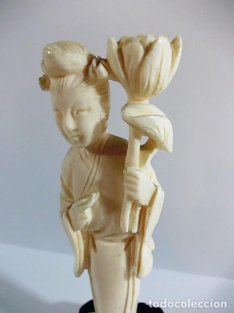 Arte: ANTIGUA FIGURA GEISHA JAPONESA REALIZADA EN MARFIL - Foto 4 - 104298515