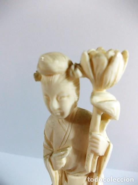 Arte: ANTIGUA FIGURA GEISHA JAPONESA REALIZADA EN MARFIL - Foto 9 - 104298515