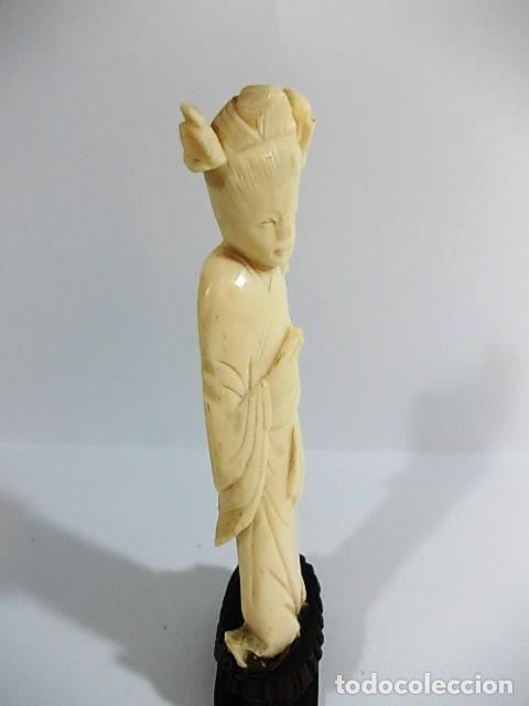 Arte: ANTIGUA FIGURA FEMENINA EN MARFIL FINAMENTE TALLADA - Foto 5 - 104396171