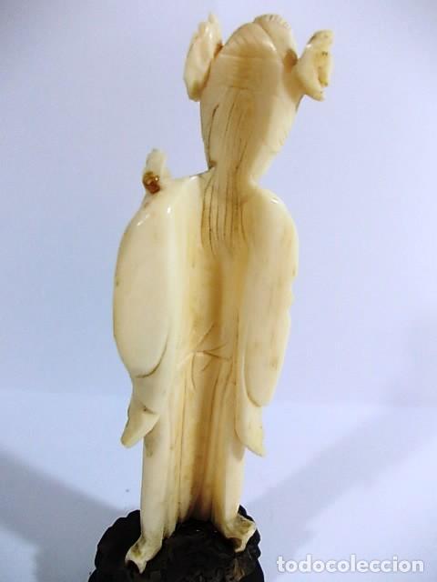 Arte: ANTIGUA FIGURA FEMENINA EN MARFIL FINAMENTE TALLADA - Foto 7 - 104396171