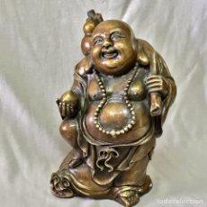 Arte: ESCULTURA BRONCE BUDA FELLIZ HAPPY BUDDHA 23 CM ALTO. Lote 104505903