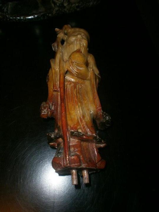 Arte: Conjunto escultura dioses chinos en piedra jabonosa medida 22 X 26 cm. altura 4 figuras sobre piedra - Foto 8 - 104557743