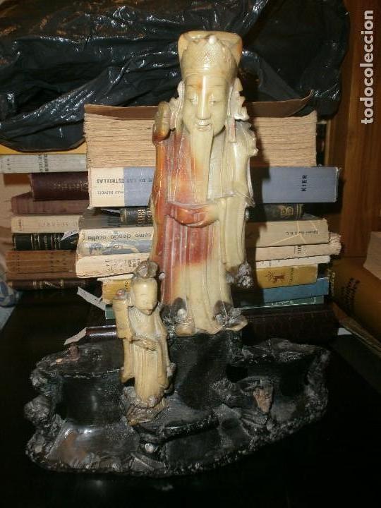 Arte: Conjunto escultura dioses chinos en piedra jabonosa medida 22 X 26 cm. altura 4 figuras sobre piedra - Foto 7 - 104557743