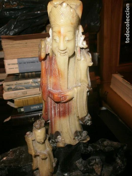 Arte: Conjunto escultura dioses chinos en piedra jabonosa medida 22 X 26 cm. altura 4 figuras sobre piedra - Foto 9 - 104557743