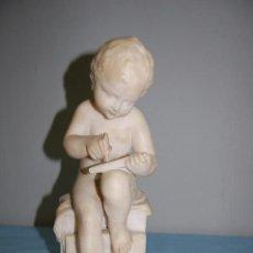 Arte: NIÑO LECTOR EN ALABASTRO DE 1920. Lote 104655339