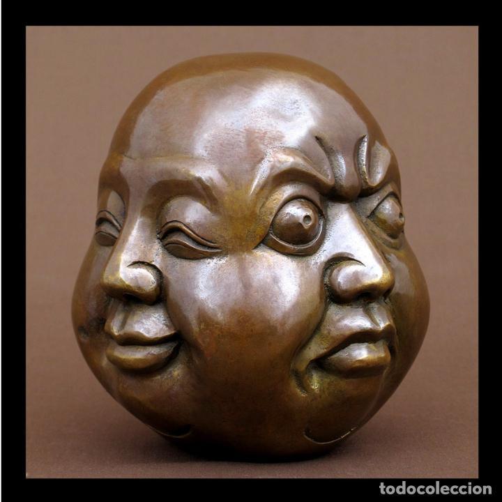 CABEZA 4 CARAS DE BUDA 15CM DE ALTO (Arte - Escultura - Bronce)