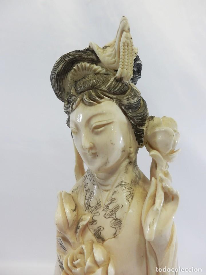 Arte: Preciosa talla de marfil del s XIX, Geisha con detalles cromados. 31 cm. - Foto 6 - 104934559