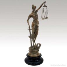 Arte: FIGURA DE BRONCE. JUSTICIA CON BALANZA 023CM (TEMIS). Lote 143948737