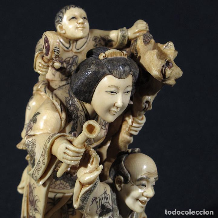 Arte: Talla de Marfil Hombre y mujer con niños (CITES nº nc1125/07) - Foto 5 - 105247251
