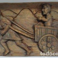 Arte: ANTIGUO CUADRO TALLADO A MANO EN MADERA MACIZA DE MEDIDAS 31 CTMS LARGO X 19 CTMS ALTO-. Lote 105641987