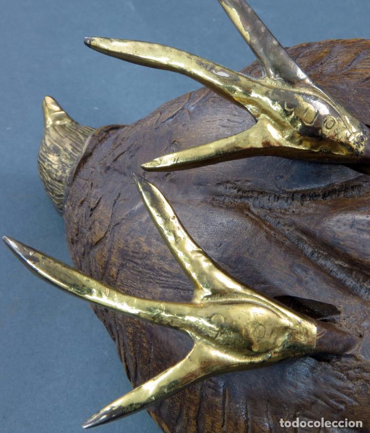 Arte: Escultura codorniz tallada en piedra con patas y cabeza de bronce siglo XX - Foto 8 - 105990199