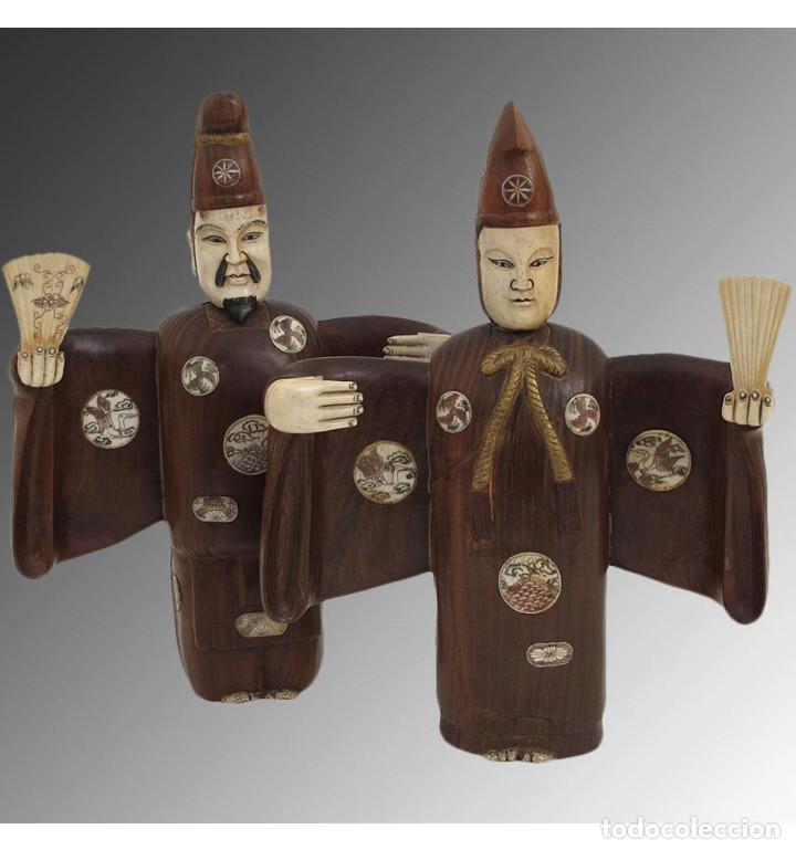 ARTESANALES JAPONESES ZEN PAREJA 33CM CON MADERA Y HUESO TALLADO DE VACA O BÚFALO DE AGUA (Arte - Escultura - Hueso)