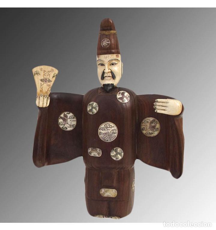 Arte: Artesanales Japoneses Zen pareja 33cm con madera y Hueso Tallado de Vaca o Búfalo de agua - Foto 2 - 106024319