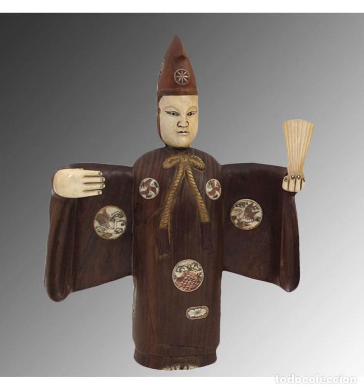 Arte: Artesanales Japoneses Zen pareja 33cm con madera y Hueso Tallado de Vaca o Búfalo de agua - Foto 3 - 106024319