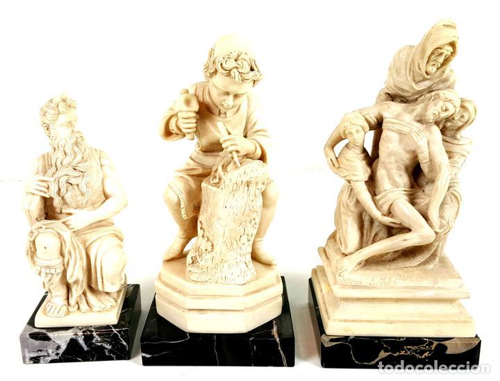 CONJUNTO DE 3 ESCULTURAS. RESINA ITALIANA. G. RUGGERI. ITALIA. CIRCA 1970. (Arte - Escultura - Resina)
