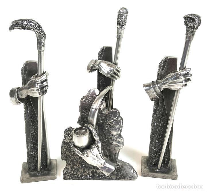 COLECCIÓN DE 4 ESCULTURAS DE METAL PLATEADO. JOSE LUIS CASASOLA. SIGLO XX. (Arte - Escultura - Hierro)