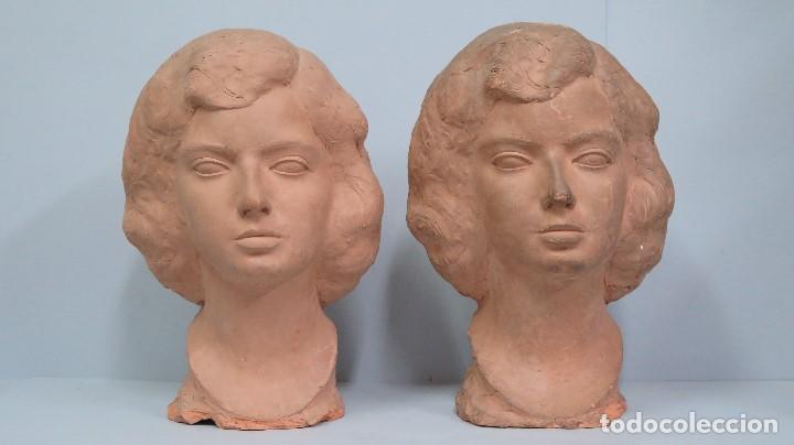 PAREJA DE BUSTOS DE TERRACOTA. MARINO AMAYA (1928 ASTORGA - 2014) (Arte - Escultura - Terracota )