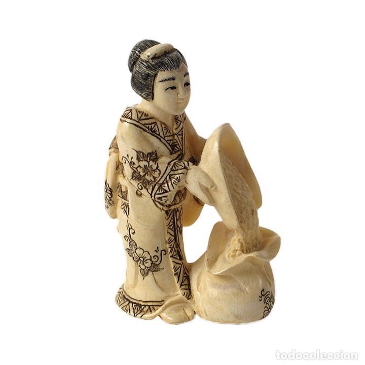 Arte: Netsuke de marfil mujer con cosecha (nc623/16i) - Foto 2 - 108901976