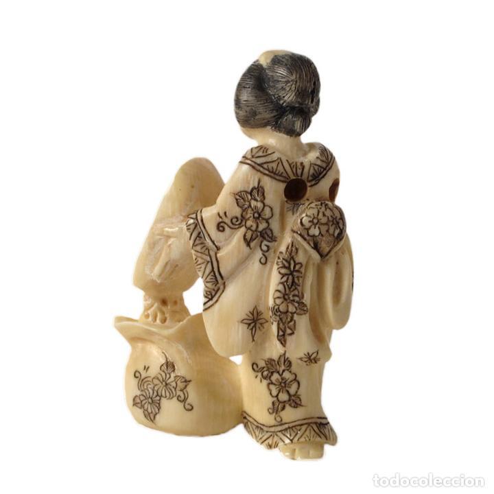 Arte: Netsuke de marfil mujer con cosecha (nc623/16i) - Foto 3 - 108901976