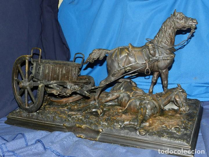 (M) ESPECTACULAR BRONCE ANTIGUO CABALLOS S.XIX FIRMADO POR C. DE FERRIERES - L'ALANDONNE 73X42X38 CM (Arte - Escultura - Bronce)