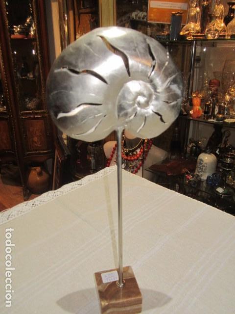 Arte: Rareza Escultura de caracola en metal, sobre peana de mármol. 15 cms. altura. - Foto 4 - 110454311