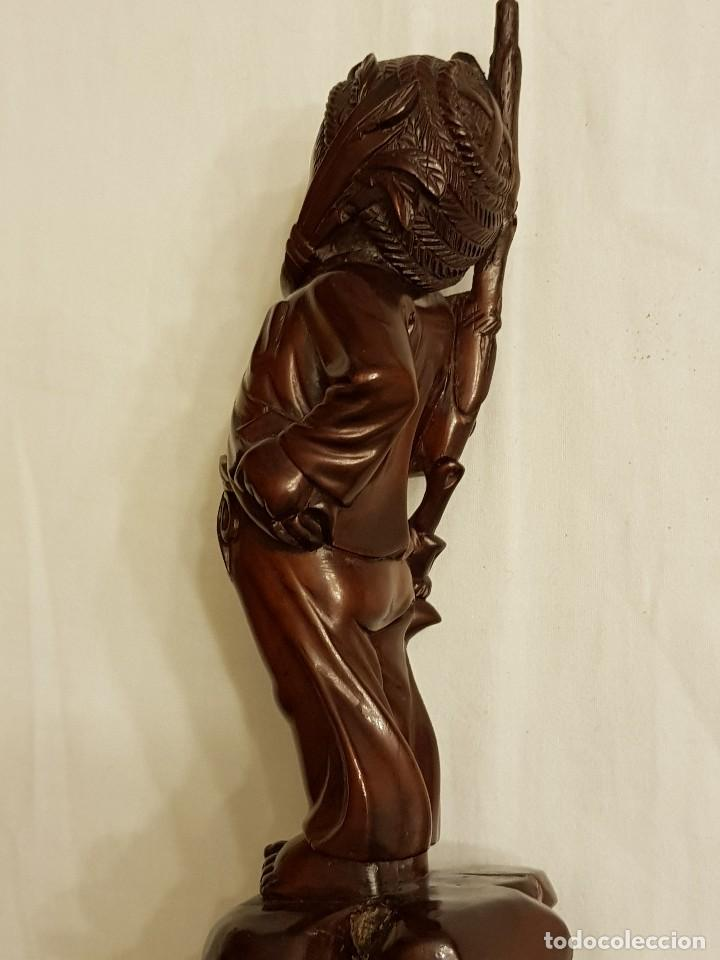 Arte: Talla de madera. Niño oriental - Foto 8 - 110498595