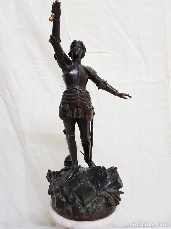 BRONCE DE JUANA DE ARCO. FIRMADO POR EL CONDE DE ASTANIERES. FINALES SIGLO XIX (Arte - Escultura - Bronce)
