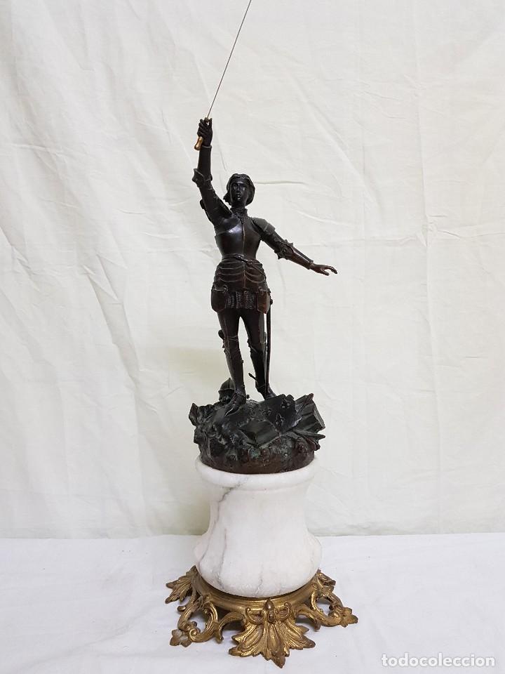 Arte: Bronce de Juana de Arco. Firmado por el Conde de Astanieres. Finales siglo XIX - Foto 3 - 111386903